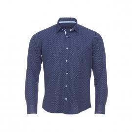 Chemise cintrée Gianni bleu marine à motifs gouttes et petits pois bleu clair