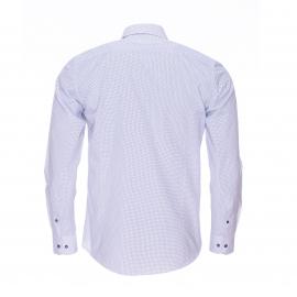 Chemise cintrée Gianni Ferrucci blanche à pois bleu marine