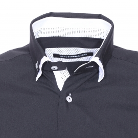 Chemise cintrée Gianni Ferrucci noire, opposition blanche à pois noirs et col doublé de blanc