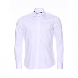 Chemise cintrée Gianni Ferrucci blanche à poignets mousquetaires