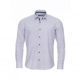 Chemise cintrée Gianni Ferrucci blanche à motifs étoilés noirs
