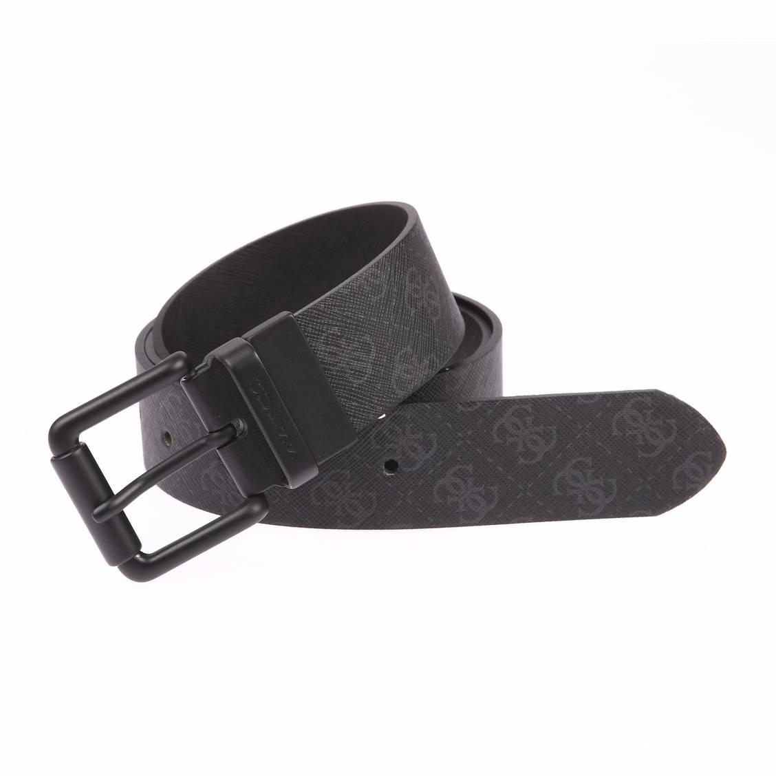ceinture guess en cuir noir monogramme gris fonce