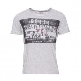 Tee-shirt col rond Guess gris chiné à motifs floqués