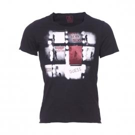 Tee-shirt col V Guess en coton noir imprimé sur le devant