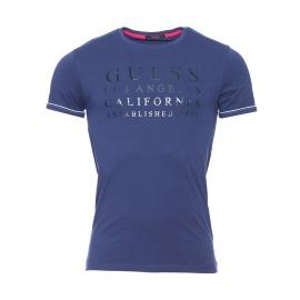 Tee-shirt col rond Guess en coton stretch bleu marine floqué
