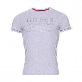 Tee-shirt col V Guess en coton stretch gris chiné floqué