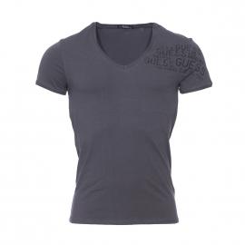 Tee-shirt col v Guess en coton stretch gris anthracite floqué en noir