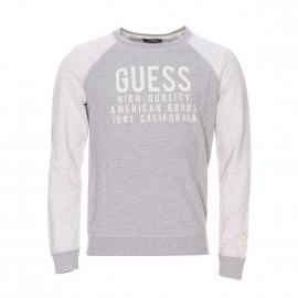 Sweat Guess en coton gris chiné floqué en blanc