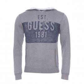 Sweat à capuche Guess en laine gris chiné estampillé
