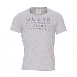 Tee-shirt col rond Guess gris chiné floqué en velours gris