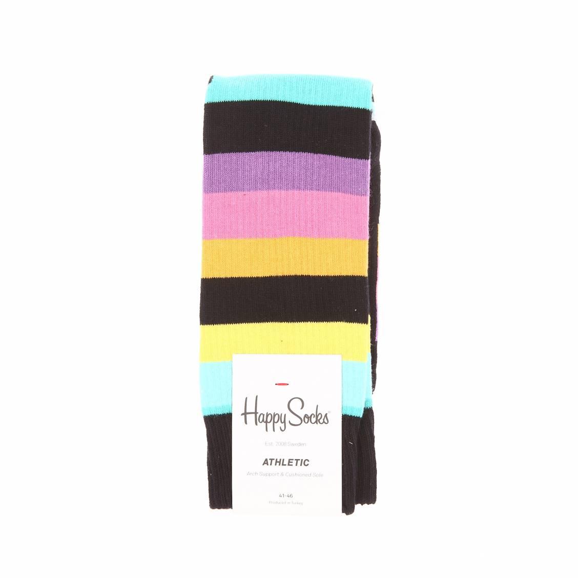 chaussettes hautes happy socks noires c tel es rayures. Black Bedroom Furniture Sets. Home Design Ideas