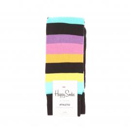 Chaussettes hautes Happy Socks noires côtelées à rayures multicolores