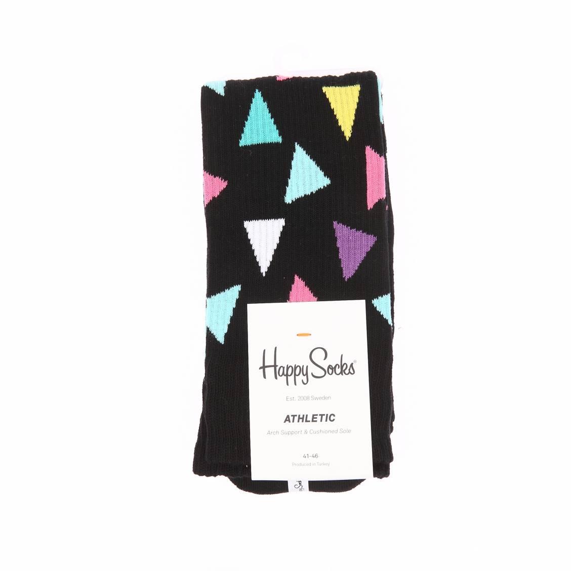 Chaussettes  côtelées noires à motifs triangles