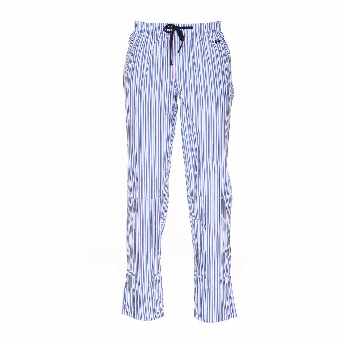 pantalon d 39 int rieur hom en coton bleu et rayures multicolores rue des hommes. Black Bedroom Furniture Sets. Home Design Ideas