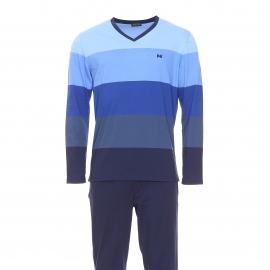 Pyjama long Hom Chateau en coton : tee-shirt manches longues à larges rayures bleues et pantalon bleu marine