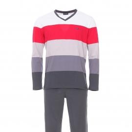 Pyjama long Hom en coton : tee-shirt col V et manches longues gris à rayures et pantalon gris foncé uni