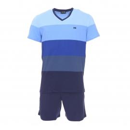 Pyjama court Hom Chateau en coton : tee-shirt manches courtes à larges rayures bleues et short bleu marine