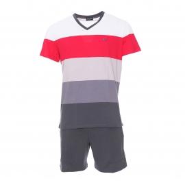 Pyjama court Hom Chateau en coton : tee-shirt col V et manches courtes gris à rayures et short gris foncé uni