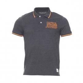 Polo Core by Jack & Jones en coton gris foncé à inscriptions orange brodées