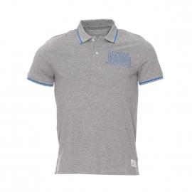 Polo Core by Jack & Jones en coton gris clair à inscriptions bleues brodées