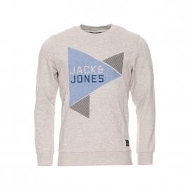 Sweat col rond Core by Jack & Jones gris clair floqué