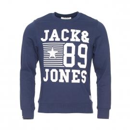 Sweat col rond Jack&Jones en coton bleu foncé floqué