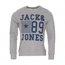Sweat col rond Jack&Jones en coton gris clair moucheté floqué