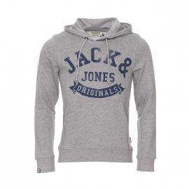 Sweat à capuche Originals by Jack & Jones en coton gris clair à inscriptions bleu marine