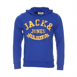 Sweat à capuche Originals by Jack & Jones en coton bleu à inscriptions jaunes