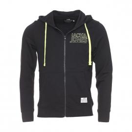 Sweat zippé à capuche Core by Jack & Jones en coton noir avec inscriptions brodées en vert anis fluo