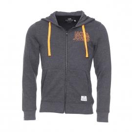 Sweat zippé à capuche Core by Jack & Jones en coton gris foncé avec inscriptions brodées en orange fluo