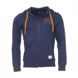 Sweat zippé à capuche Core by Jack & Jones en coton bleu marine avec inscriptions brodées en camel