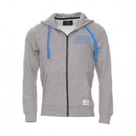 Sweat zippé à capuche Core by Jack & Jones en coton gris clair avec inscriptions brodées en bleu turquoise