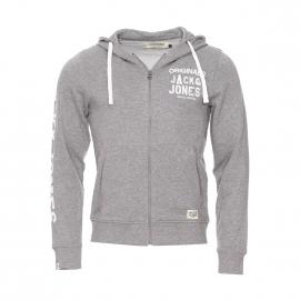 Sweat zippé à capuche Originals by Jack & Jones en coton gris clair brodé et floqué d'inscriptions blanches