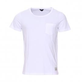 Tee-shirt col rond et manches courtes Core by Jack & Jones en coton blanc avec poche poitrine