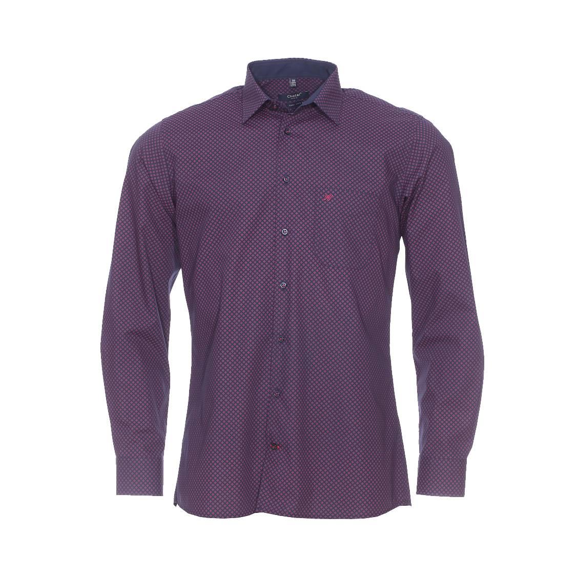Chemise ajustée  en coton bleu marine à motifs bordeaux