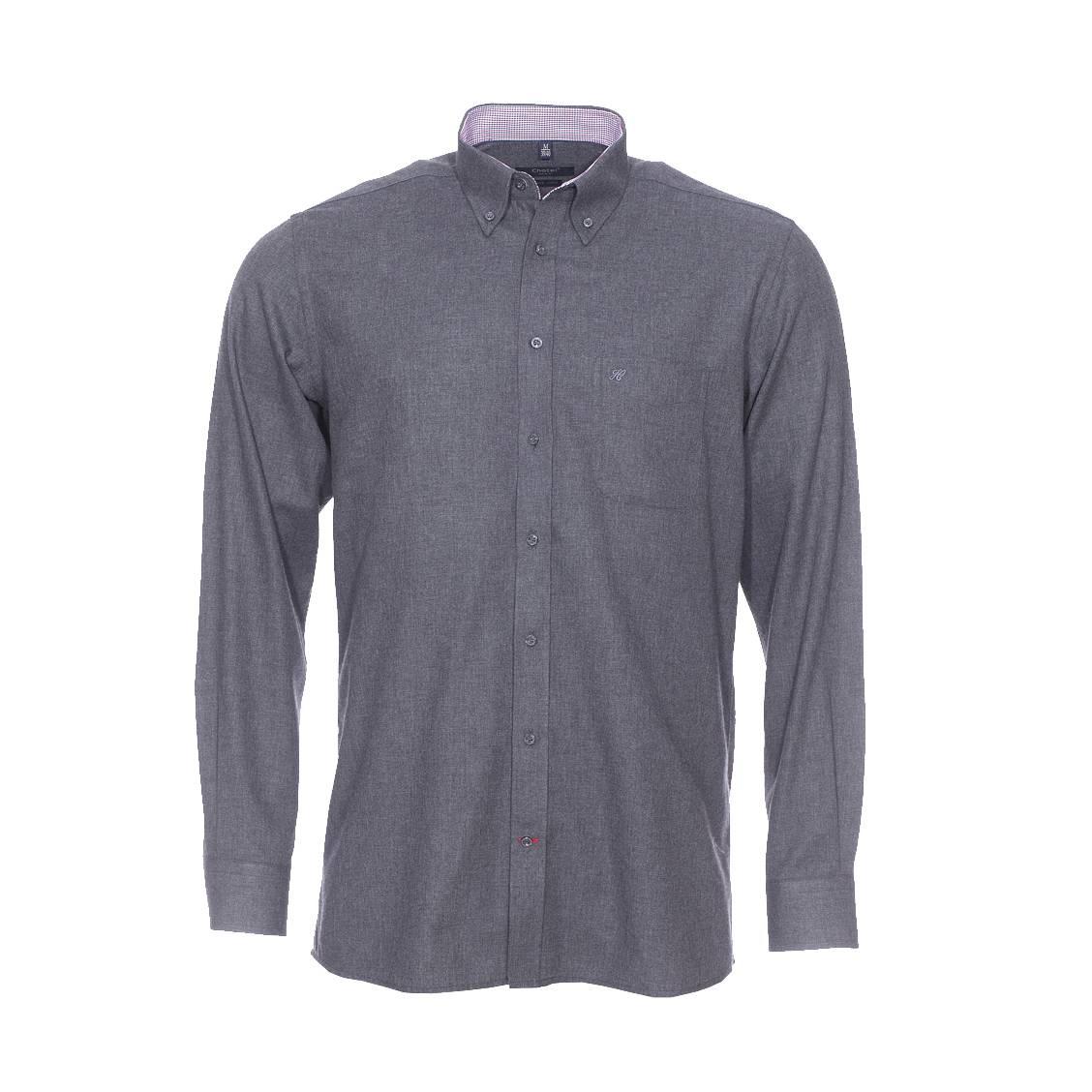Chemise droite  en jersey de coton anthracite, opposition à carreaux