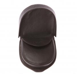 Porte-monnaie L'aiglon rond en cuir lisse marron foncé