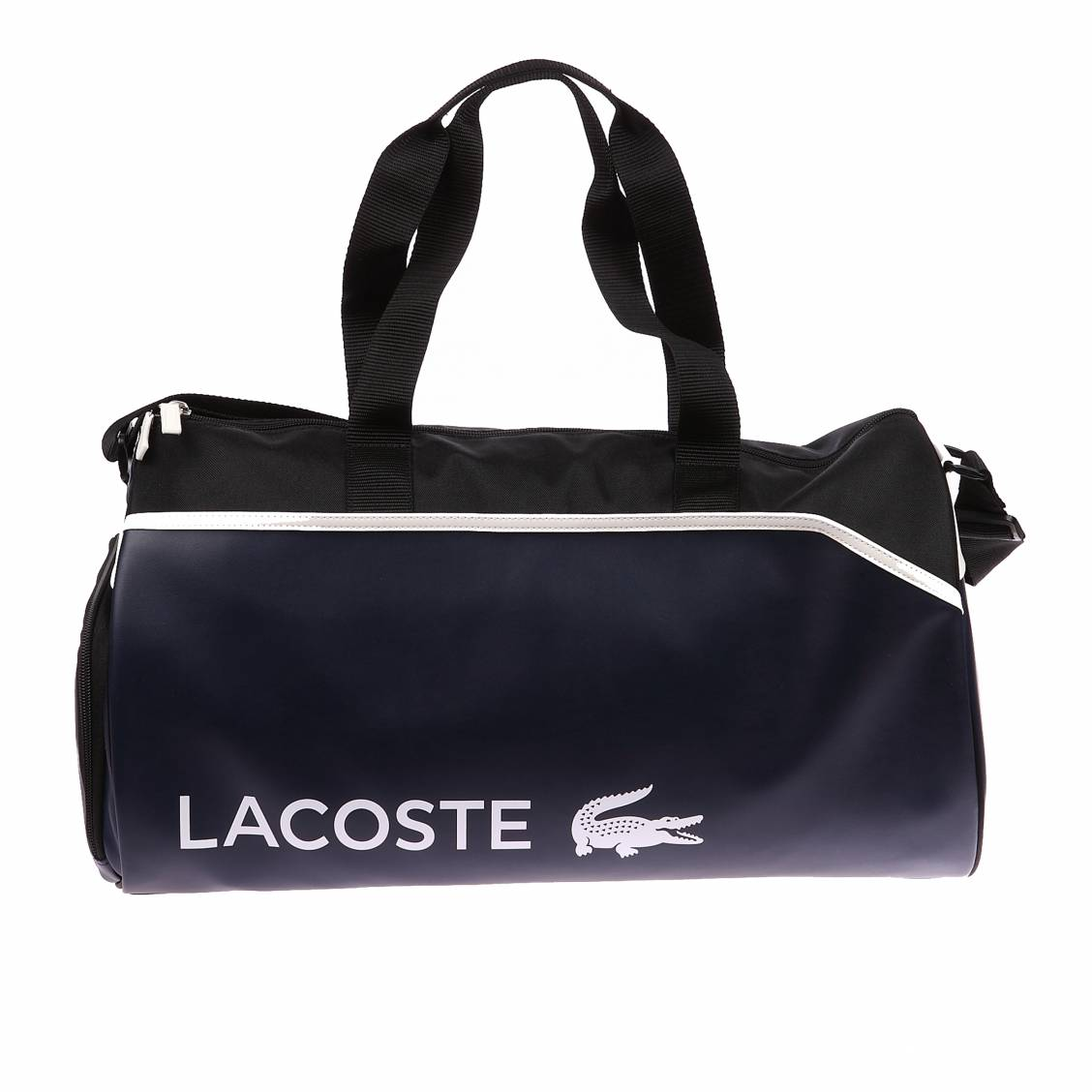 sac de sport lacoste en simili cuir bleu fonc d tails. Black Bedroom Furniture Sets. Home Design Ideas