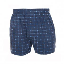 Caleçon Authentics Lacoste en coton bleu marine, logotypé en bleu indigo