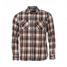 Chemise droite MCS à carreaux marron, beiges et bleus