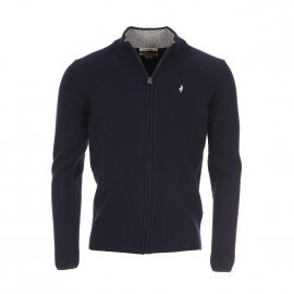 Gilet zippé MCS en laine bleu marine, col à opposition gris clair