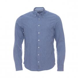 Chemise cintrée Marc O'Polo en coton chiné à rayures bleues et blanches