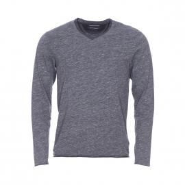 Tee-shirt manches longues Marc O'Polo en coton gris flammé à double col