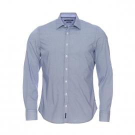Chemise cintrée Marc O'Polo à motifs minimalistes bleus et blancs