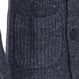 Gilet Marc O'Polo en laine vierge et lin bleu chiné