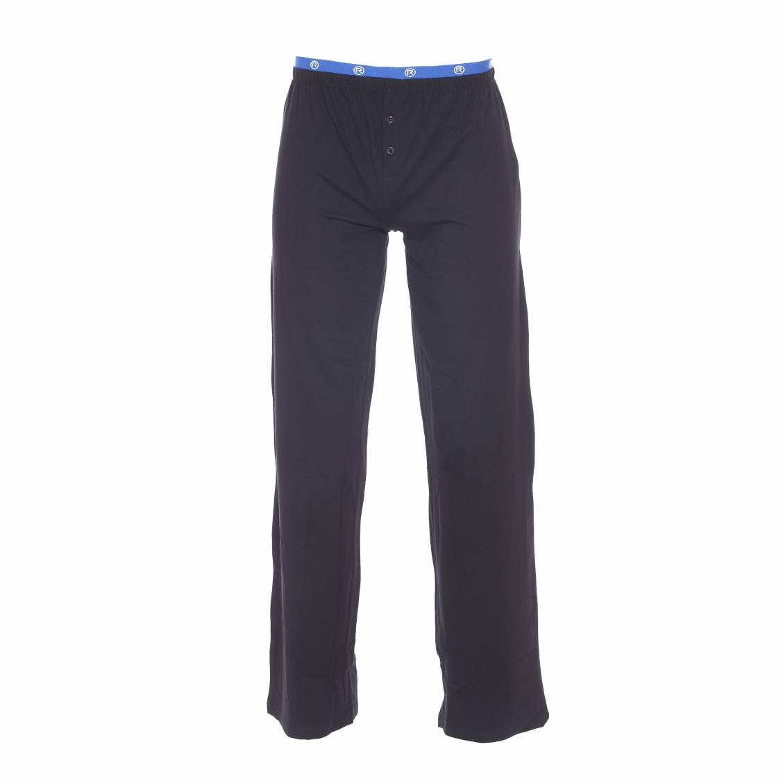 pantalon d 39 int rieur mariner en coton stretch noir ceinture bleu lectrique rue des hommes. Black Bedroom Furniture Sets. Home Design Ideas