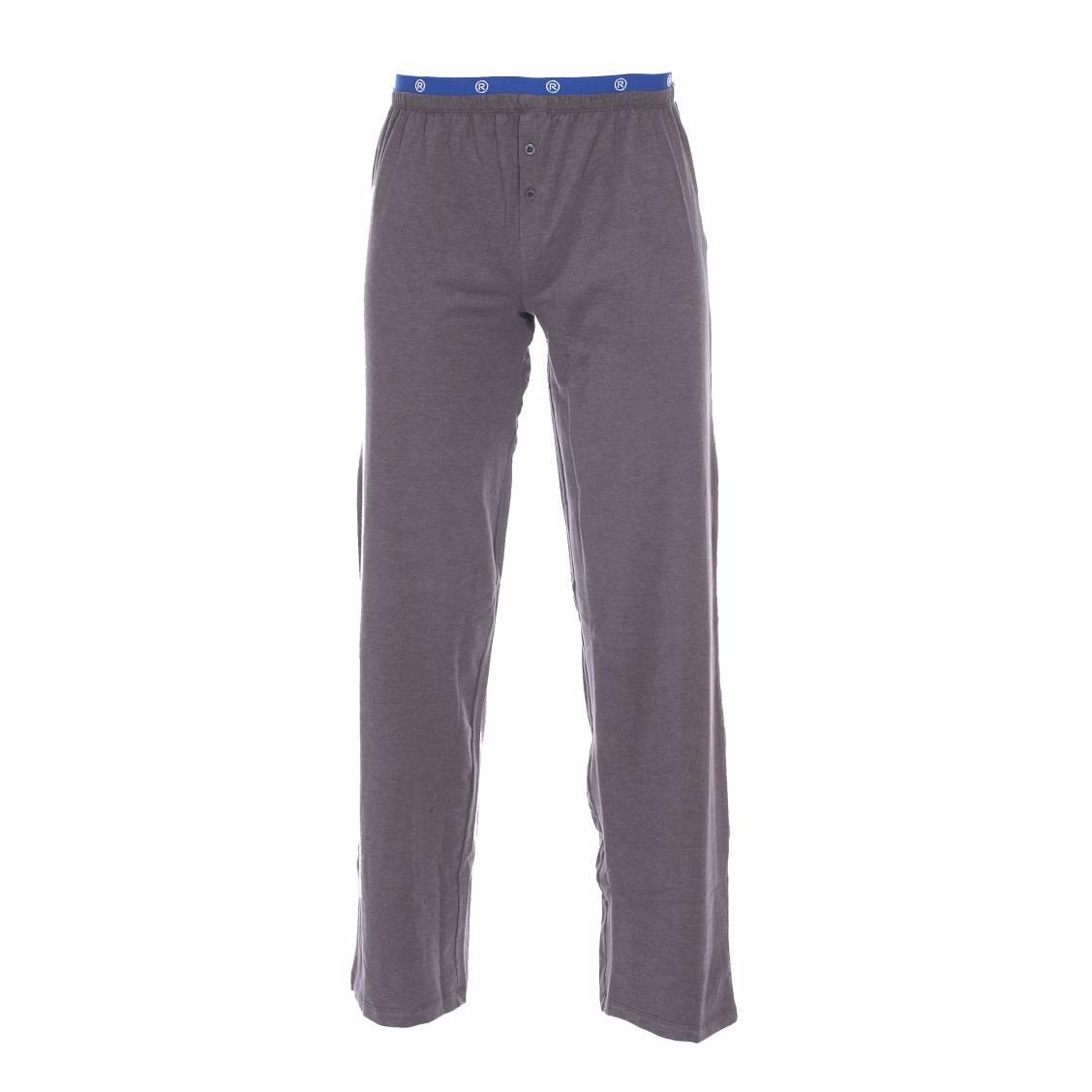 pantalon d 39 int rieur mariner en coton stretch gris chin ceinture bleu lectrique rue des hommes. Black Bedroom Furniture Sets. Home Design Ideas