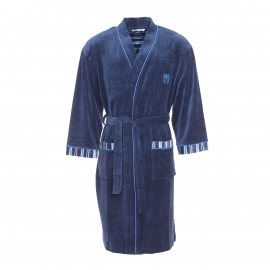 Robe de chambre longue Mariner en velours bleu marine