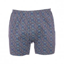 Caleçon Mariner marron à motifs bleus, verts et gris